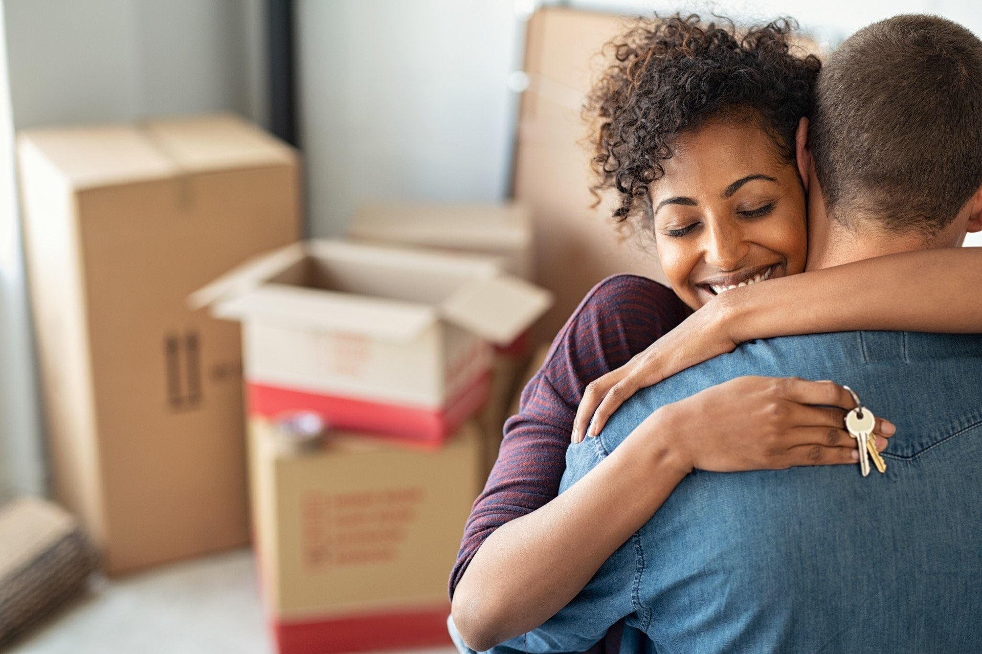 First-time home buyers in new home
